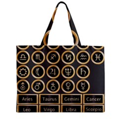 Black And Gold Buttons And Bars Depicting The Signs Of The Astrology Symbols Medium Zipper Tote Bag by Amaryn4rt