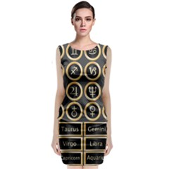Black And Gold Buttons And Bars Depicting The Signs Of The Astrology Symbols Sleeveless Velvet Midi Dress