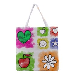 A Set Of Watercolour Icons Grocery Tote Bag by Amaryn4rt