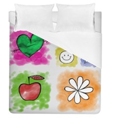 A Set Of Watercolour Icons Duvet Cover (queen Size)