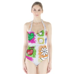 A Set Of Watercolour Icons Halter Swimsuit by Amaryn4rt