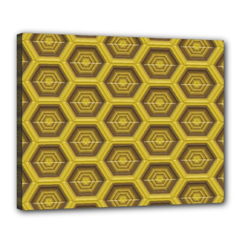 Golden 3d Hexagon Background Canvas 20  X 16  by Amaryn4rt