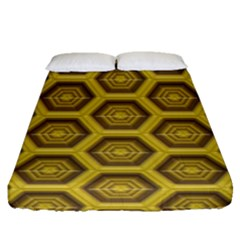 Golden 3d Hexagon Background Fitted Sheet (queen Size) by Amaryn4rt