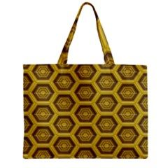 Golden 3d Hexagon Background Zipper Mini Tote Bag by Amaryn4rt