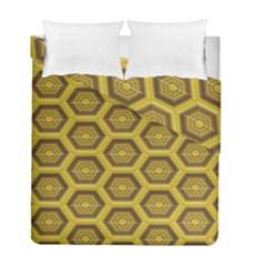 Golden 3d Hexagon Background Duvet Cover Double Side (full/ Double Size) by Amaryn4rt