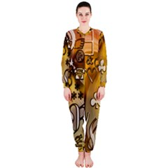 Symbols On Gradient Background Embossed Onepiece Jumpsuit (ladies)  by Amaryn4rt