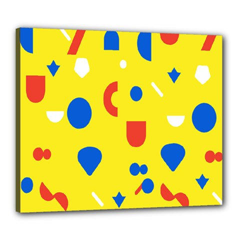 Circle Triangle Red Blue Yellow White Sign Canvas 24  X 20  by Alisyart