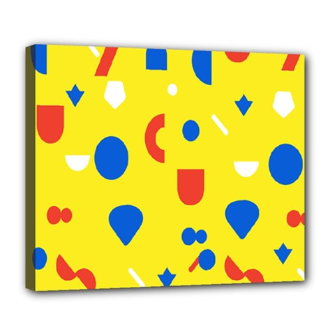 Circle Triangle Red Blue Yellow White Sign Deluxe Canvas 24  X 20