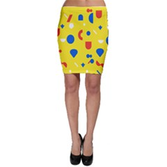 Circle Triangle Red Blue Yellow White Sign Bodycon Skirt