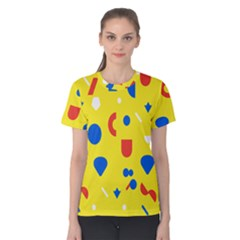 Circle Triangle Red Blue Yellow White Sign Women s Cotton Tee