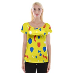 Circle Triangle Red Blue Yellow White Sign Women s Cap Sleeve Top by Alisyart