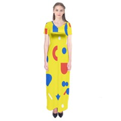Circle Triangle Red Blue Yellow White Sign Short Sleeve Maxi Dress
