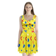 Circle Triangle Red Blue Yellow White Sign Split Back Mini Dress