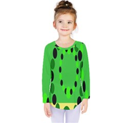 Circular Dot Selections Green Yellow Black Kids  Long Sleeve Tee