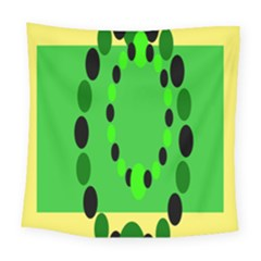 Circular Dot Selections Green Yellow Black Square Tapestry (large)