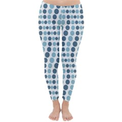 Circle Blue Grey Line Waves Classic Winter Leggings