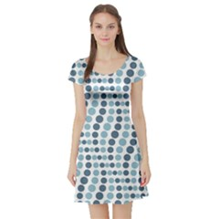 Circle Blue Grey Line Waves Short Sleeve Skater Dress