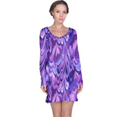 Purple Marble  Long Sleeve Nightdress by KirstenStar
