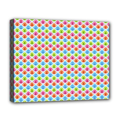 Colorful Floral Seamless Red Blue Green Pink Deluxe Canvas 20  X 16   by Alisyart