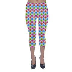 Colorful Floral Seamless Red Blue Green Pink Capri Winter Leggings  by Alisyart