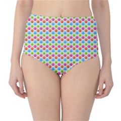 Colorful Floral Seamless Red Blue Green Pink High-waist Bikini Bottoms by Alisyart