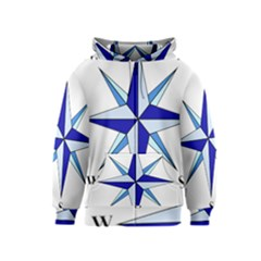 Compass Blue Star Kids  Zipper Hoodie by Alisyart