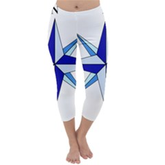 Compass Blue Star Capri Winter Leggings  by Alisyart