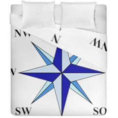 Compass Blue Star Duvet Cover Double Side (california King Size) by Alisyart