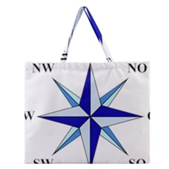 Compass Blue Star Zipper Large Tote Bag