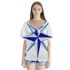 Compass Blue Star Flutter Sleeve Top