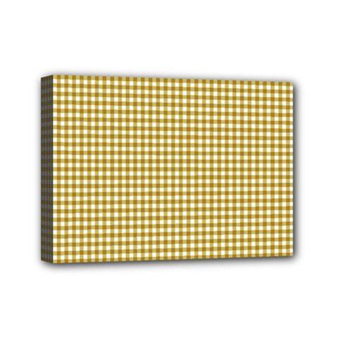 Golden Yellow Tablecloth Plaid Line Mini Canvas 7  X 5  by Alisyart
