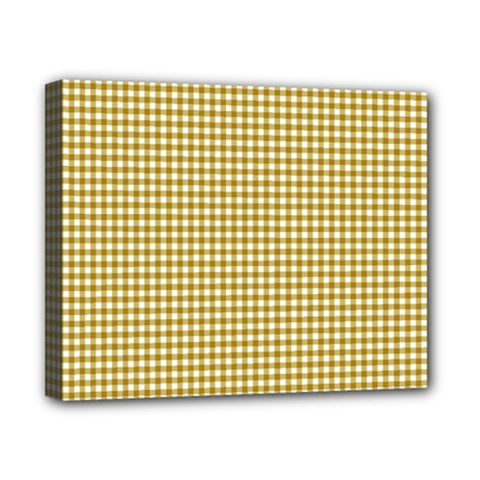 Golden Yellow Tablecloth Plaid Line Canvas 10  X 8  by Alisyart