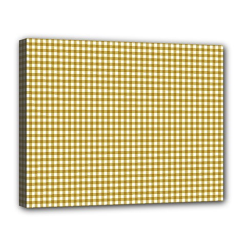 Golden Yellow Tablecloth Plaid Line Canvas 14  X 11  by Alisyart
