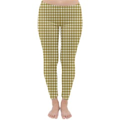 Golden Yellow Tablecloth Plaid Line Classic Winter Leggings