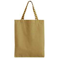 Golden Yellow Tablecloth Plaid Line Zipper Classic Tote Bag by Alisyart