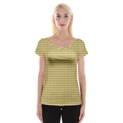 Golden Yellow Tablecloth Plaid Line Women s Cap Sleeve Top