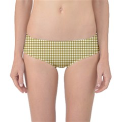 Golden Yellow Tablecloth Plaid Line Classic Bikini Bottoms by Alisyart