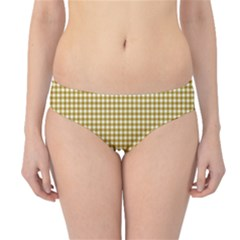 Golden Yellow Tablecloth Plaid Line Hipster Bikini Bottoms