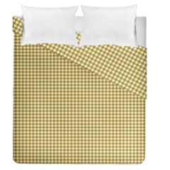 Golden Yellow Tablecloth Plaid Line Duvet Cover Double Side (queen Size) by Alisyart
