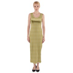 Golden Yellow Tablecloth Plaid Line Fitted Maxi Dress