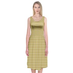 Golden Yellow Tablecloth Plaid Line Midi Sleeveless Dress by Alisyart