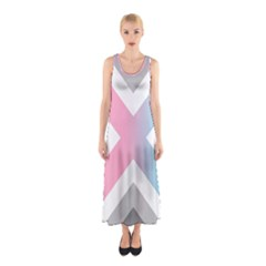 Flag X Blue Pink Grey White Chevron Sleeveless Maxi Dress
