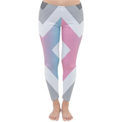 Flag X Blue Pink Grey White Chevron Classic Winter Leggings