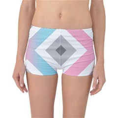 Flag X Blue Pink Grey White Chevron Reversible Bikini Bottoms