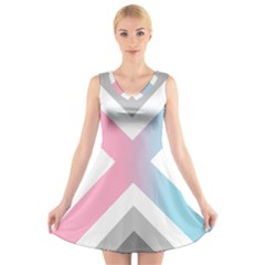 Flag X Blue Pink Grey White Chevron V Neck Sleeveless Skater Dress
