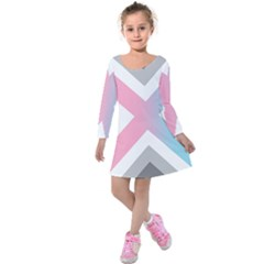 Flag X Blue Pink Grey White Chevron Kids  Long Sleeve Velvet Dress