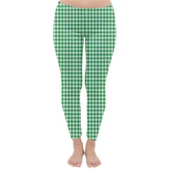 Green Tablecloth Plaid Line Classic Winter Leggings