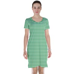Green Tablecloth Plaid Line Short Sleeve Nightdress