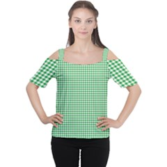 Green Tablecloth Plaid Line Women s Cutout Shoulder Tee by Alisyart