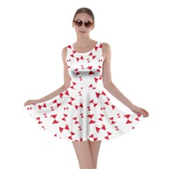 Hour Glass Pattern Red White Triangle Skater Dress